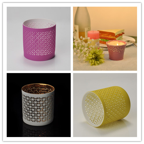 colored hollow ceramic candle holder