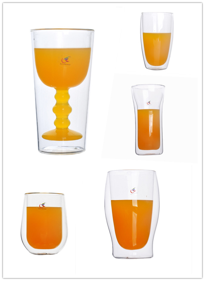 Double wall glass beer cup double drinking glass