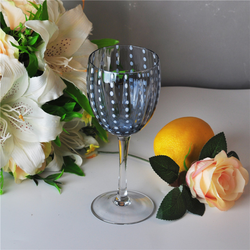 334ml Clear Mouth Blown Martini Stem Glass with Blue Dot