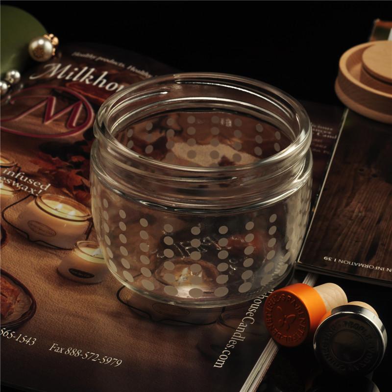 Clear Round Spot Barrel Shape Wholesale Glass Jar