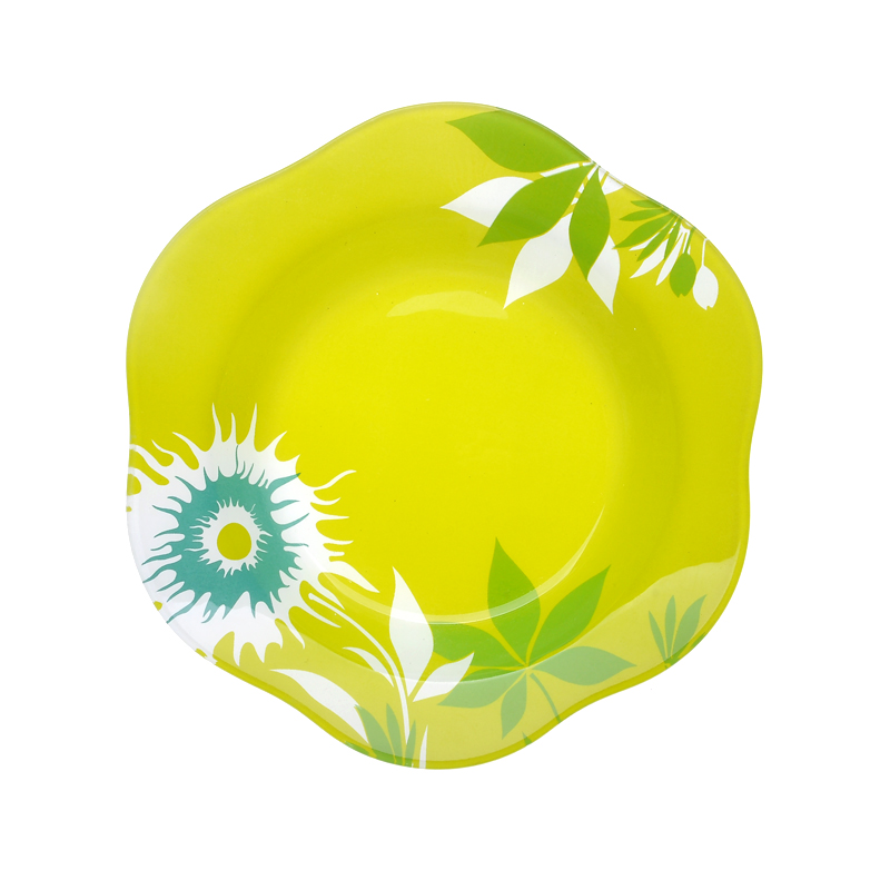 Printed yellow  fruit microwave flat dish glass plate