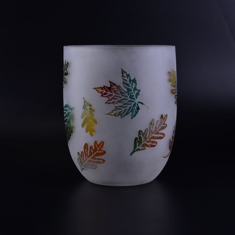 Very huge large round glass candle holder with leaf pattern 2340 ml