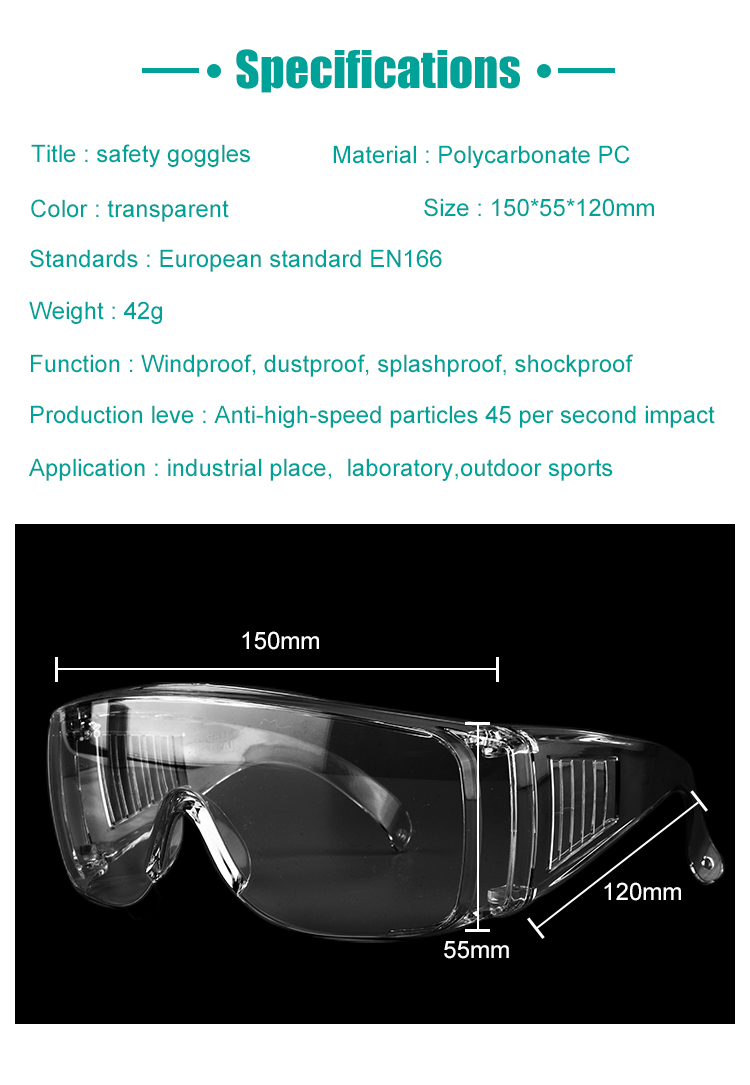Safety Goggles Transparent Shockproof Glasses for coronavirus protection
