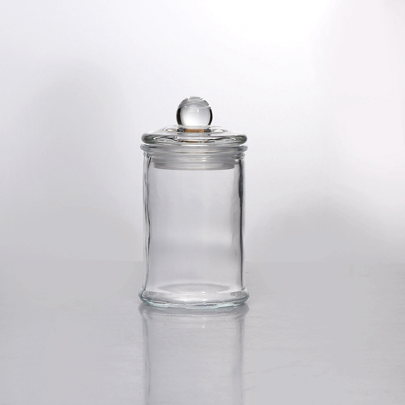 Clear glass candle jar with lid wholesale