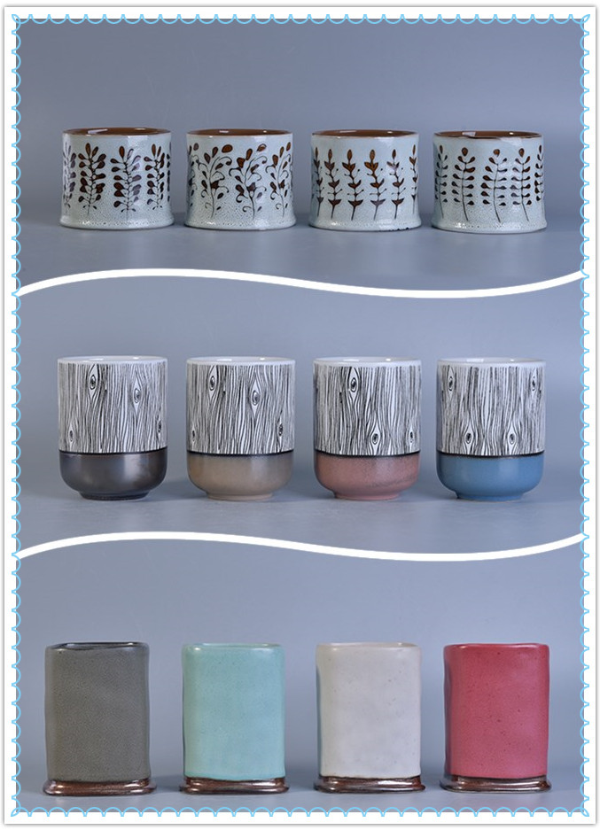 Newly hand painted transmutation glazed ceramic candle jars
