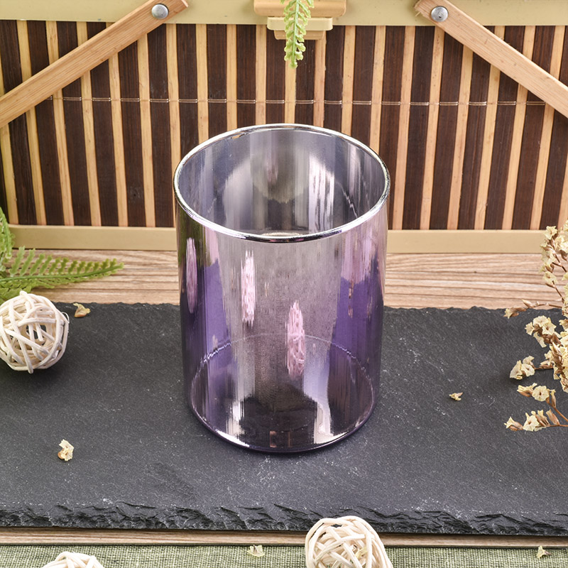 Ion plating luxury purple glass candle holder
