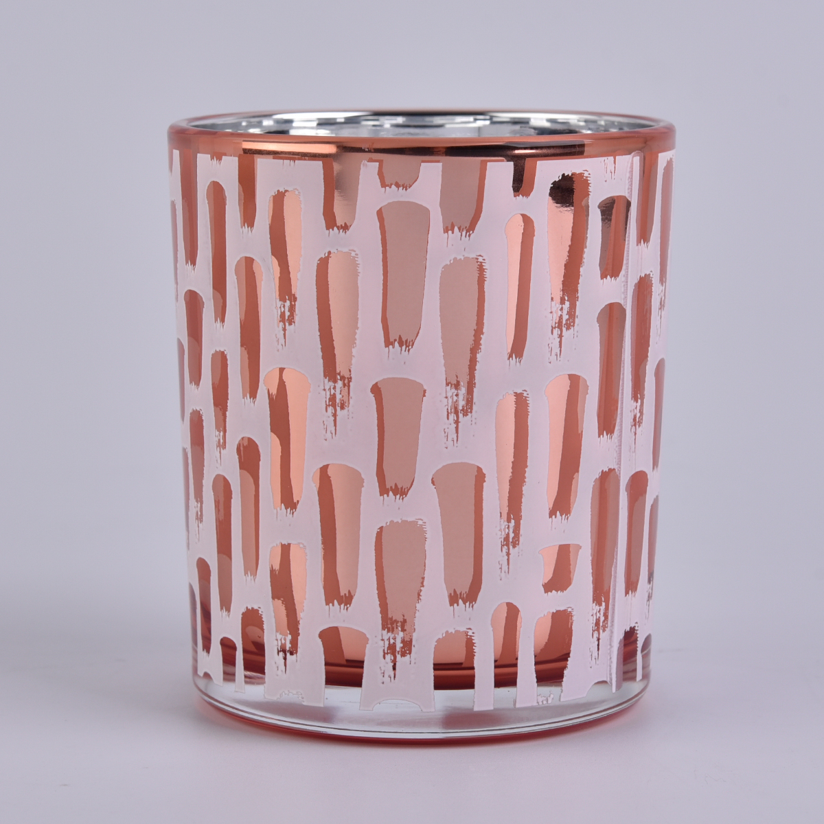 Rose Gold Plating Glass Candle Jars in Sunny Glassware