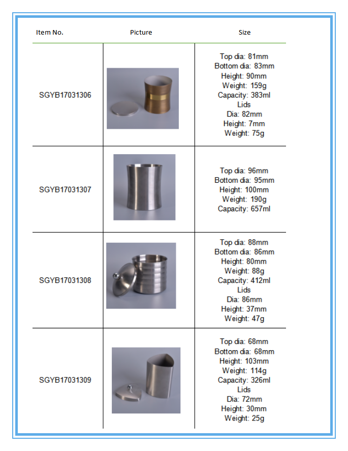 Stainless Steel Candle Jars Holders,