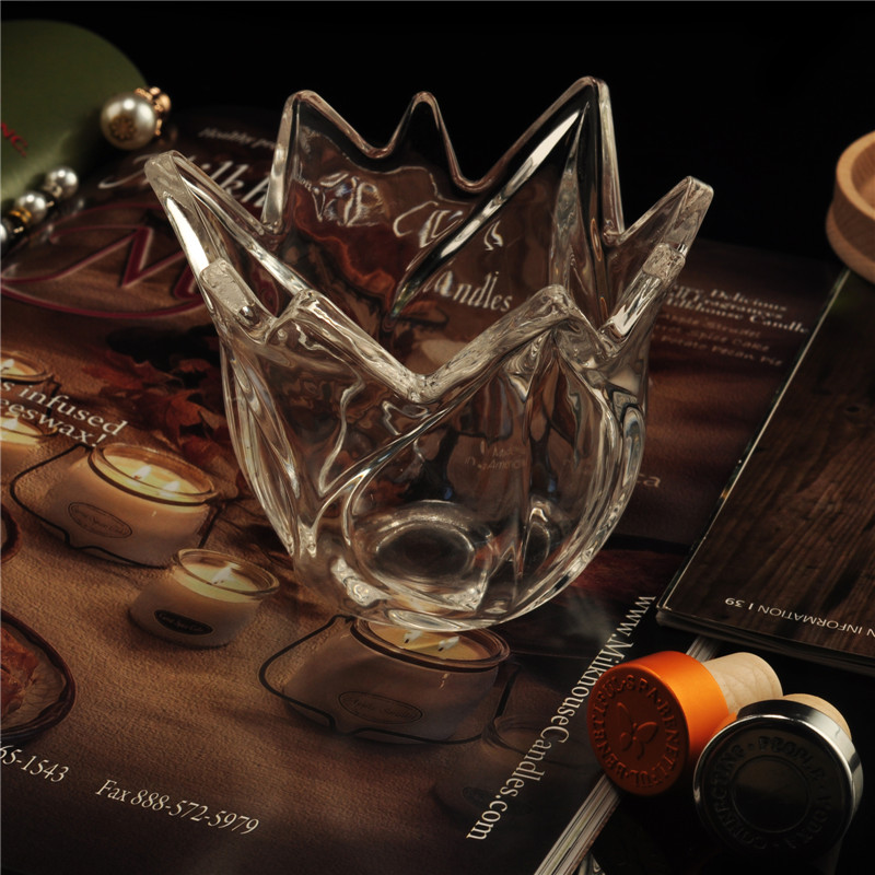 Special shaped clear glass candle jar with lid