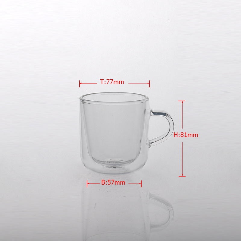 Double wall glass cup for coffee tea