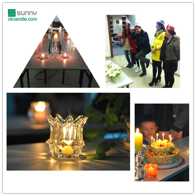 decorate birthday party with glass candle holder