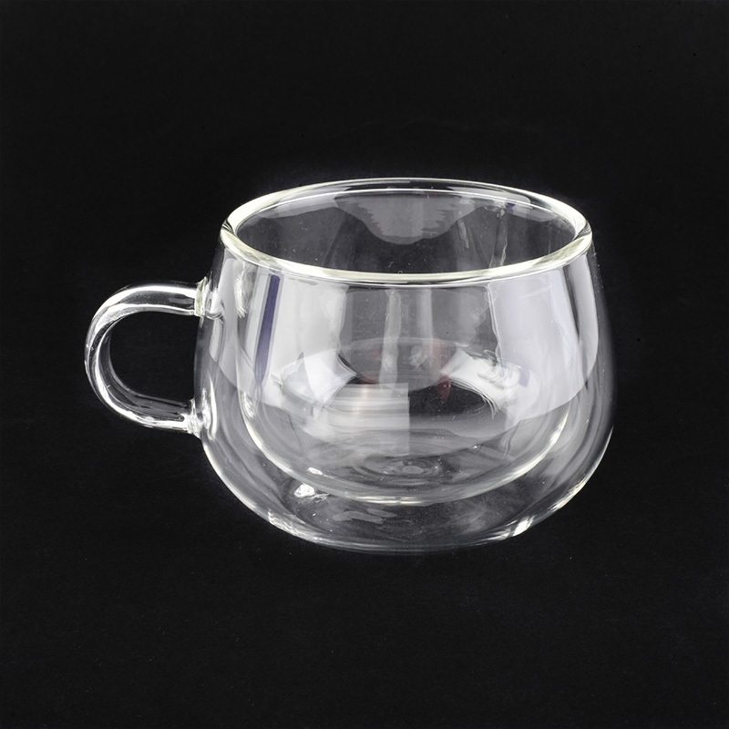 Household high borosilicate  small double wall glass tea cups