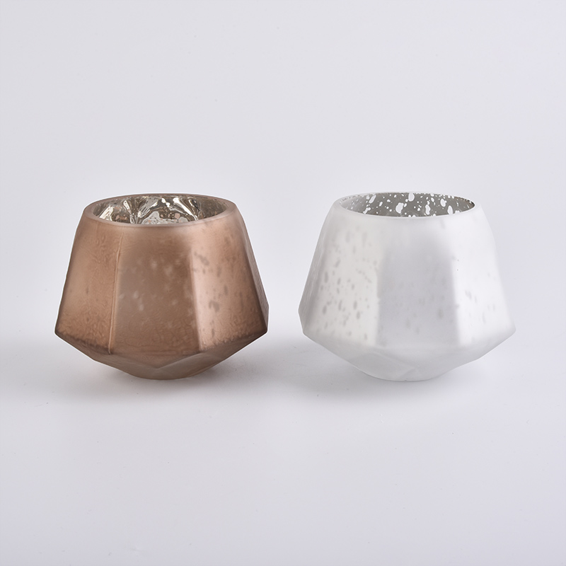 GEO 12oz handmade glass candle holders with ground silver effect