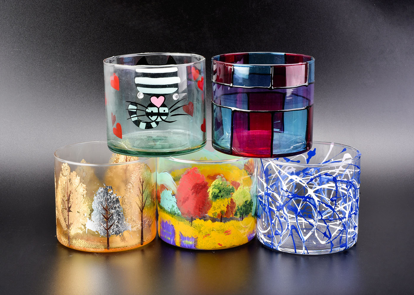 Wedding Decoration Hand-painted Glass Candle Holders