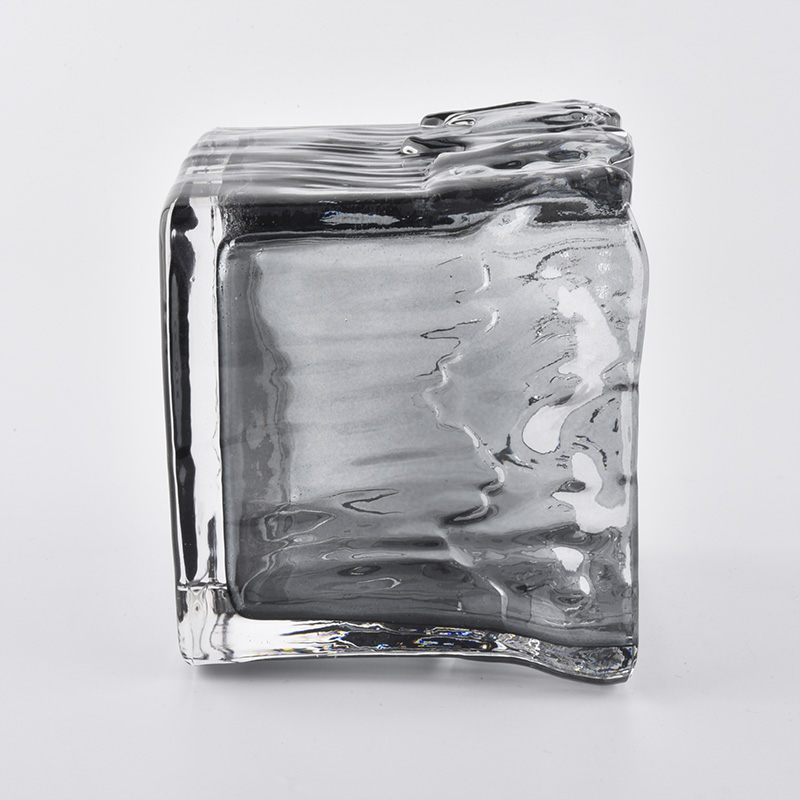 Gray Square Glass Candle Vessel
