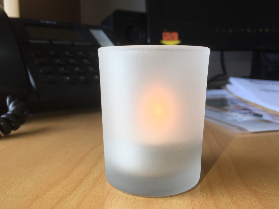 matte effect glass candle holder from Sunny Glassware.