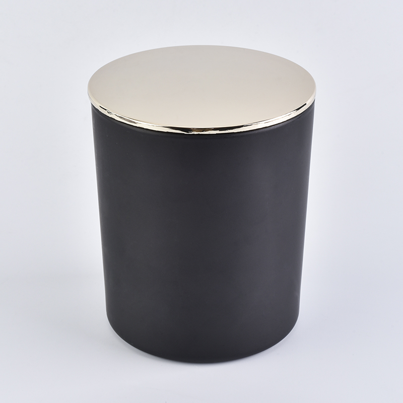 10 oz black glass candle holder with lid