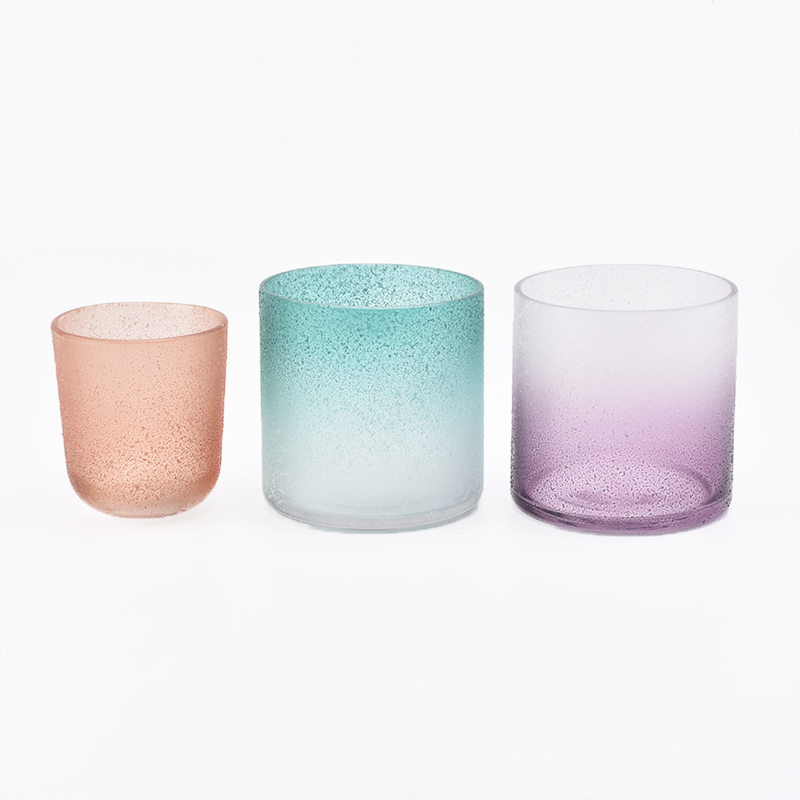 Frosted Hand Made Glass Candle Holders