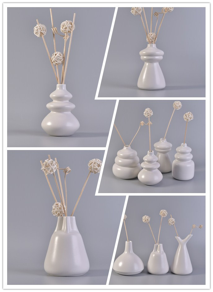 Beautiful simple white aroma ceramic reed diffuser bottles