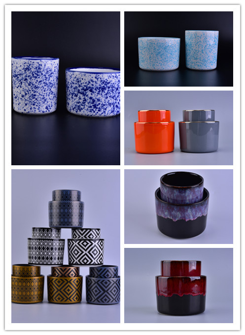 Hot popular various of surface finishes straight size ceramic candle holder