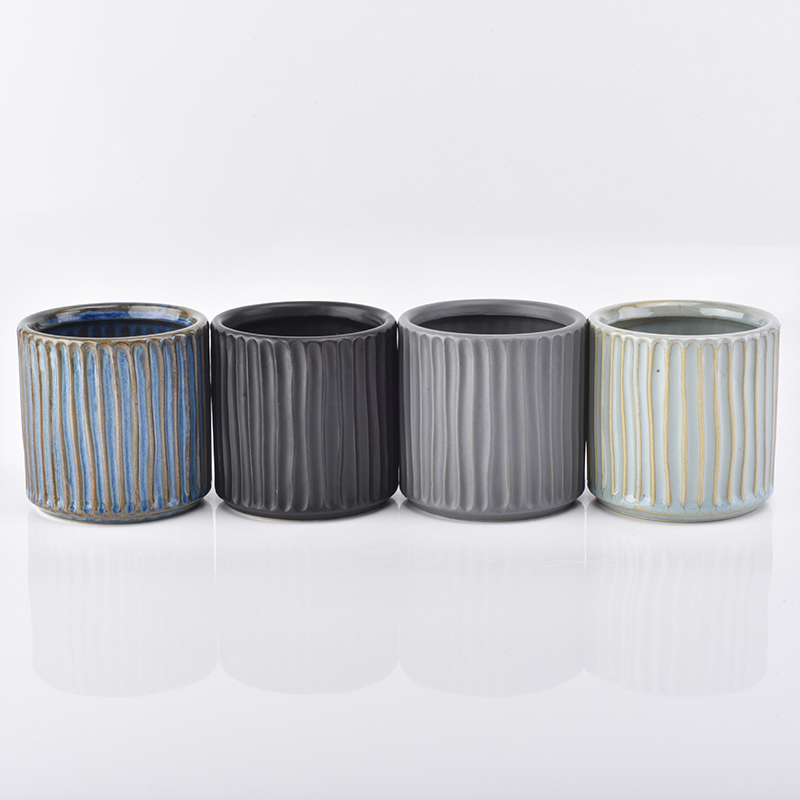 Ceramic stripe candle holder