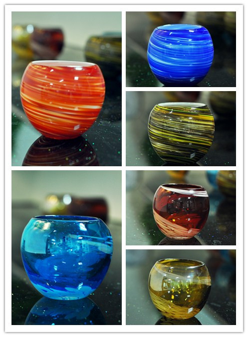 Beautiful hand made ball shape glass candle holders