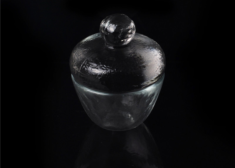 Hand Made Clear Thick Wall Glass Candle Jar With Lid