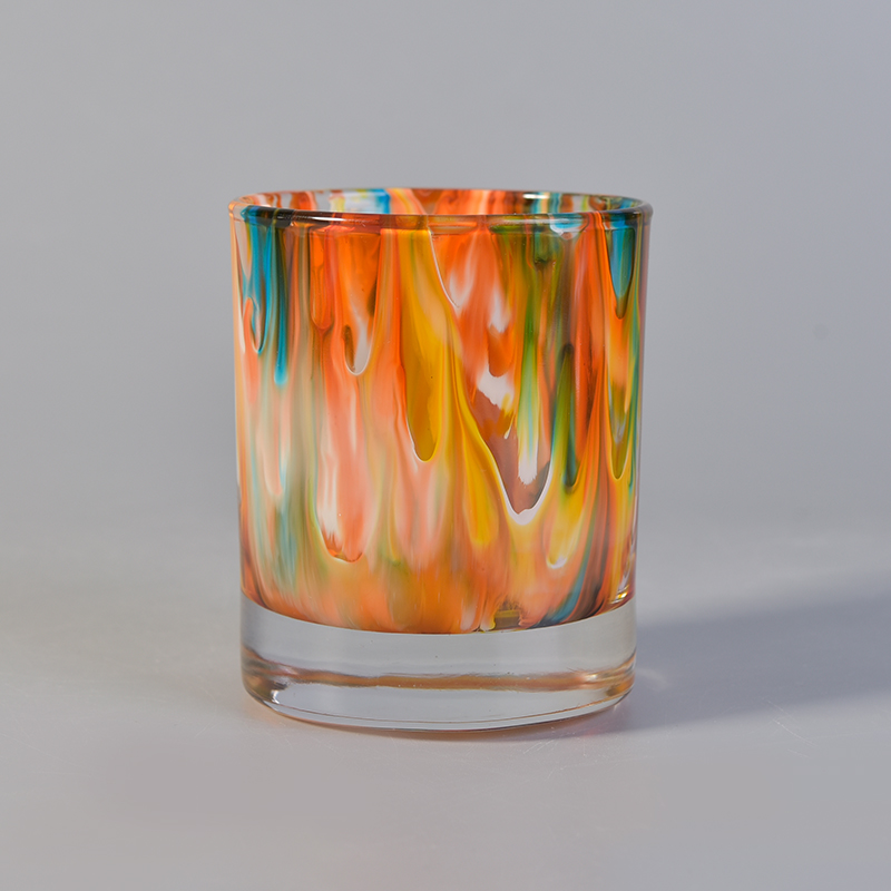 marble painted glass candle holders