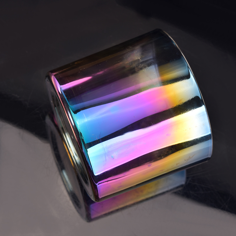 Ombre iridescent glass candle making holder cups