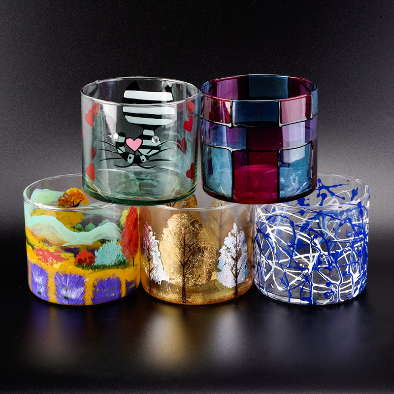 570ml hand painted irregularity lines decorated cylinder glass candle jars