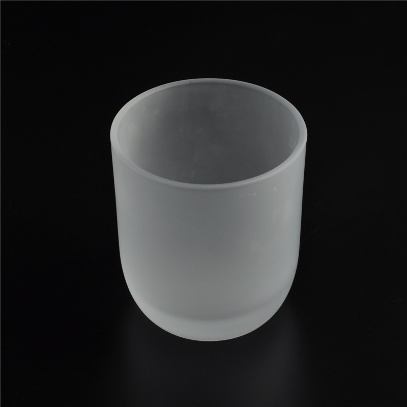 Round bottom 7oz frosted votive glass candle holder