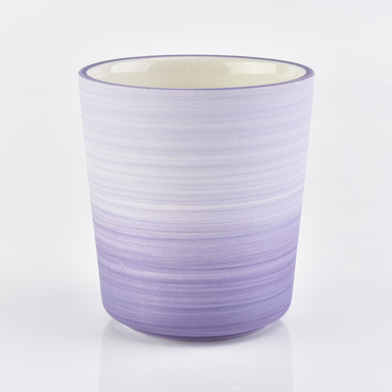 purple silk wrap decorated ceramic jars