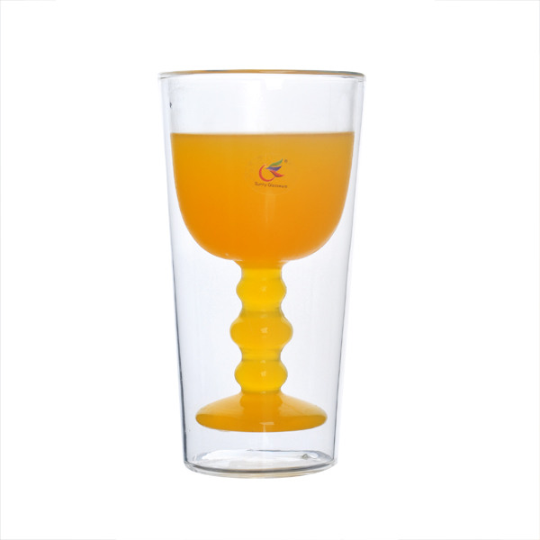 Double wall juice glass double wall glass cup