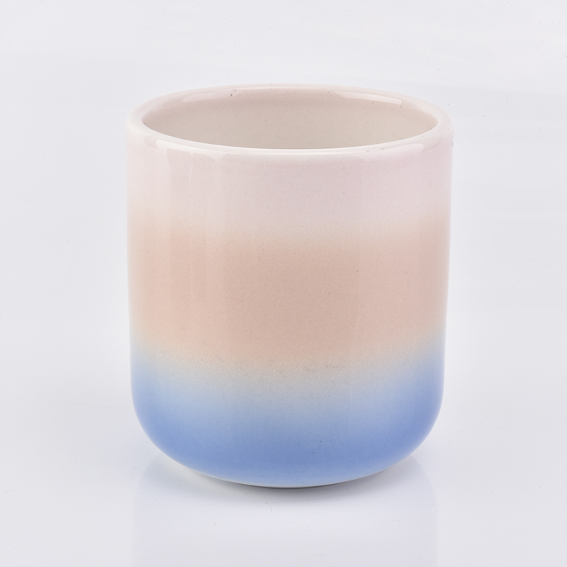 Rainbow gradual ceramic candle holder