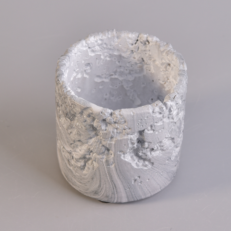 Cylinder Design Marble Effect Concrete Candle Jar For Home