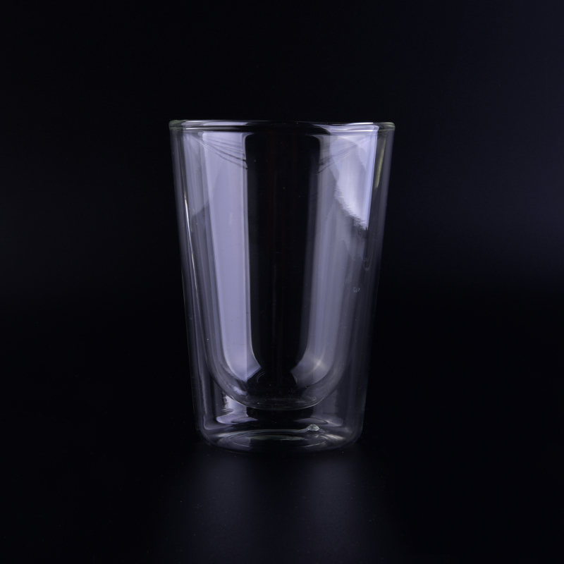 Popular style V shape clear  double wall glass for wholesale