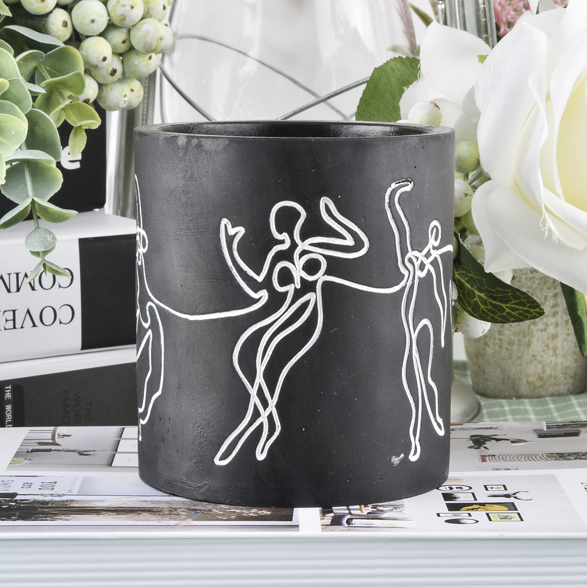 Home decor luxury decal custom concrete candle jar