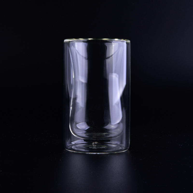 Cylinder round clear borosilicate double wall glass cup