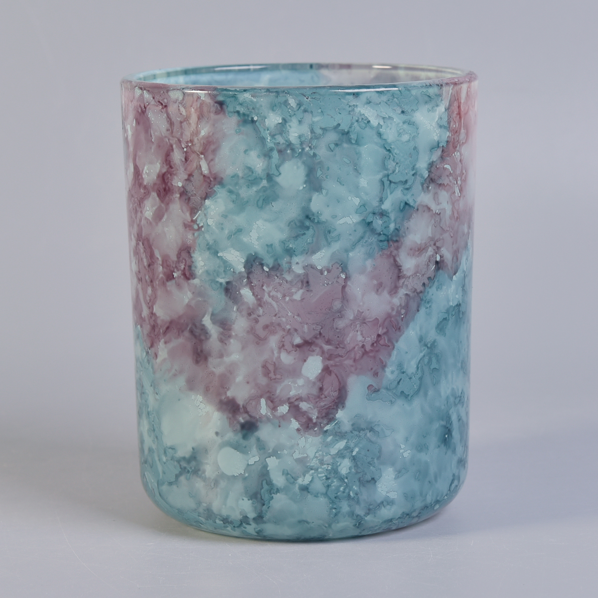 colorful painted marble effect cylinder glass candle vessel