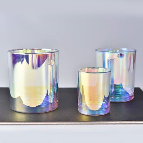 Rainbow effect glass candle holder