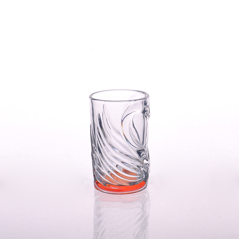 Wholesales Engraved Painted Round Tumbler Orange Color Spray Glass Cup