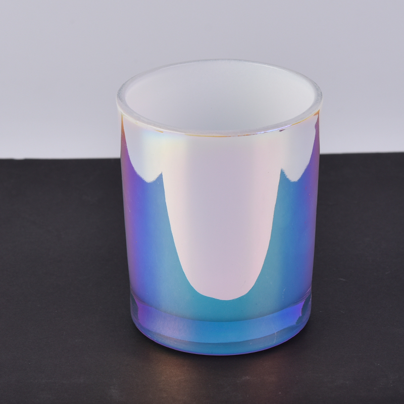 Holographic iriscendent colored glass candle containers wholesale