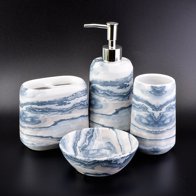 marble effect ceramic bath sets with soap dish tooth mug toothbrush mug