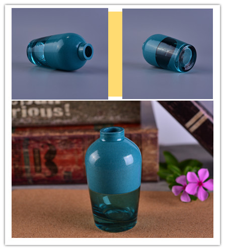 blue glass oil bottle