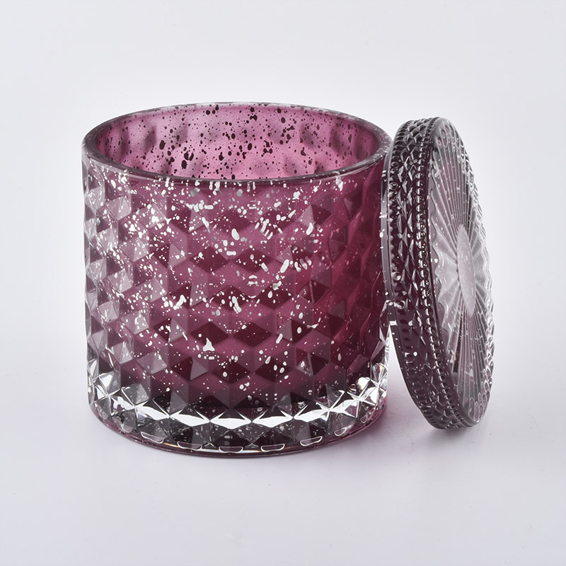 Diamond glass candle holder with lid