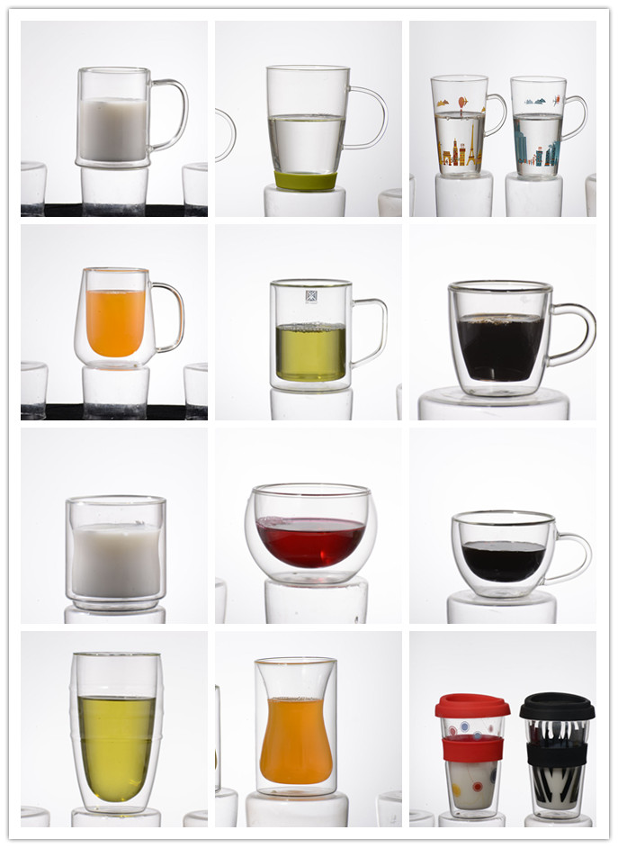 Food Grade High Quality Double Wall Glass Cups For Coffee Tea
