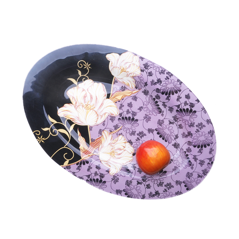 Colourful Flower Oval glass plate