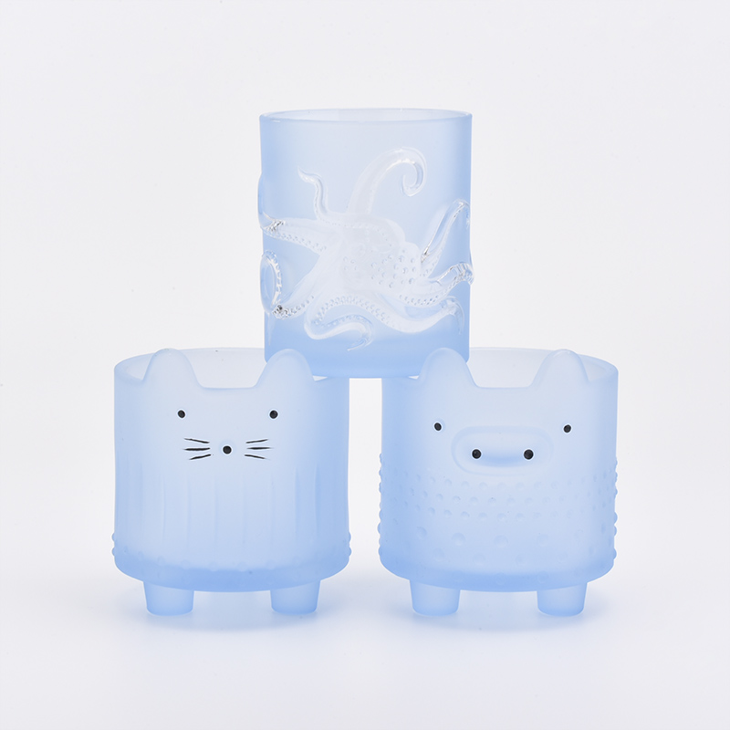 lovely blue color animal face glass candle holder