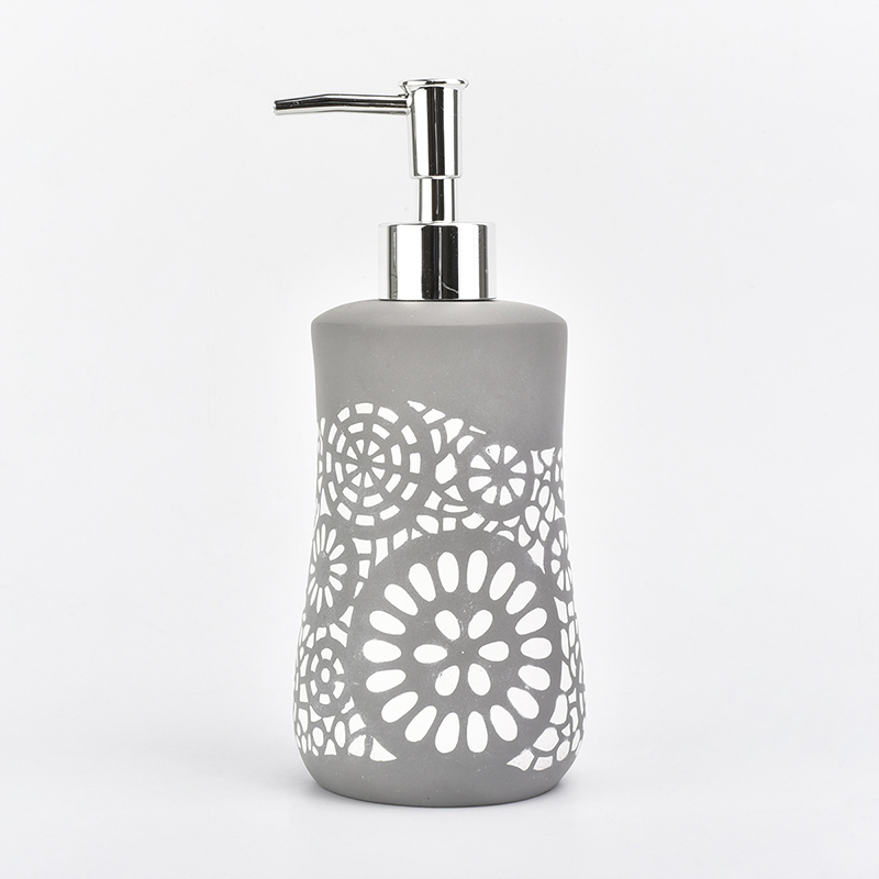 Concrete bathroom set gray color with white flower pattern