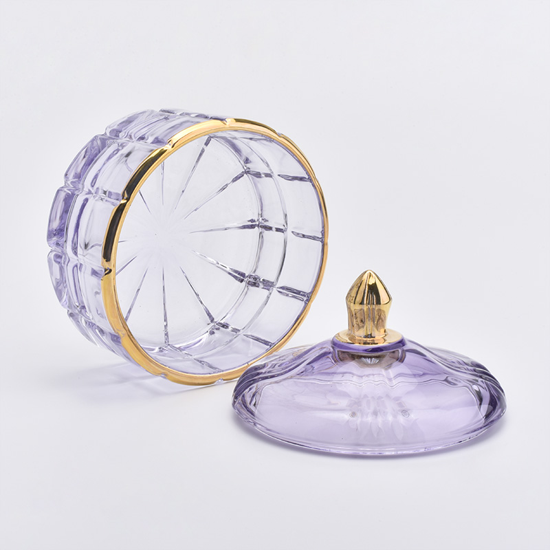 Luxury glass candle holder with lid